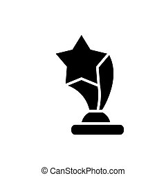 award cup with star icon, vector illustration, black sign on isolated background