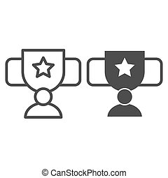 Award cup with star line and glyph icon. Trophy goblet vector illustration isolated on white. Reward prize outline style design, designed for web and app. Eps 10.