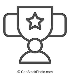 Award cup with star line icon. Trophy goblet vector illustration isolated on white. Reward prize outline style design, designed for web and app. Eps 10.