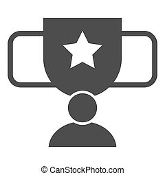 Award cup with star solid icon. Trophy goblet vector illustration isolated on white. Reward prize glyph style design, designed for web and app. Eps 10.