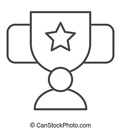 Award cup with star thin line icon. Trophy goblet vector illustration isolated on white. Reward prize outline style design, designed for web and app. Eps 10.