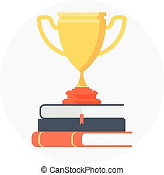 Award, education theme, flat style, colorful, vector icon