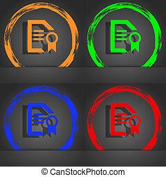 Award File document icon symbol. Fashionable modern style. In the orange, green, blue, green design.