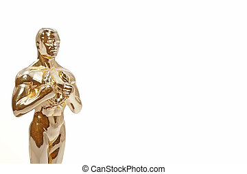 Shining golden man, similar to the Oscar statue, on white. Room for text.