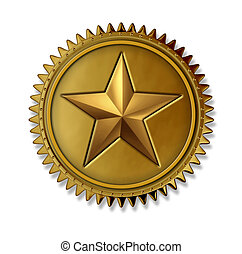 Award - Gold star award medal as a first place golden seal...