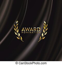 Golden winner laurel wreath glitter banner. Award nomination design background. Vector ceremony luxury invitation template, realistic silk abstract fabric texture, business prize nominee