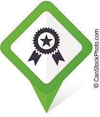 Award green square pointer web and mobile phone vector icon in eps 10 on white background with shadow