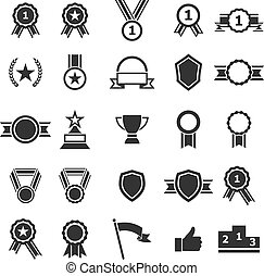 Award icons on white background, stock vector
