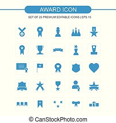 Award icons set blue