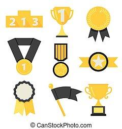 Award icons set vector