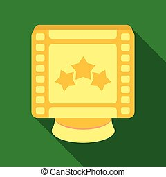 Award in the form of a video tape for best actor.Movie awards single icon in flat style vector symbol stock illustration.