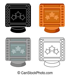 Award in the form of a video tape for best actor.Movie awards single icon in cartoon style vector symbol stock illustration.