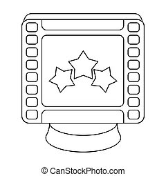 Award in the form of a video tape for best actor.Movie awards single icon in outline style vector symbol stock illustration.