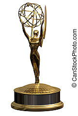 Award seen from the front holding the globe - isolated