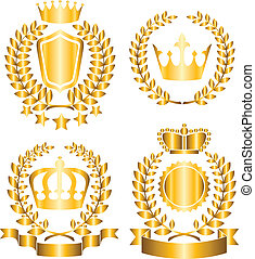award lable - Golden award lables with crown, laurel wreath...