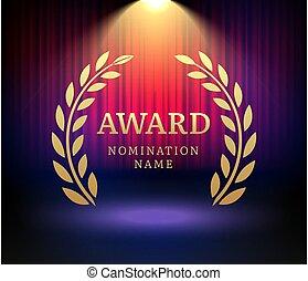 Award laurel vector logo poster. Gold win award icon design emblem nomination.