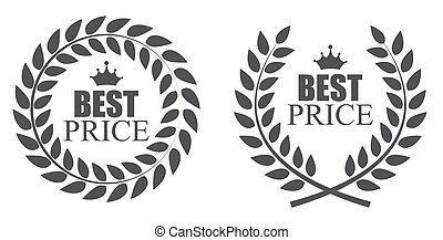 Award Laurel Wreath Best Price Label Illustration