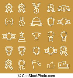 Award line icons on brown background