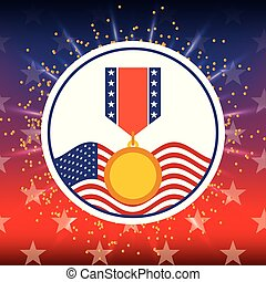 award medal and american flag bright badge