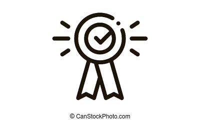 Award Medal Check Icon Animation. black Award Medal Check animated icon on white background