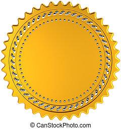 Award medal golden seal blank - Award medal seal golden...