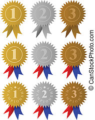 Award Medals / Ribbons - Set of golden, silver and bronze...