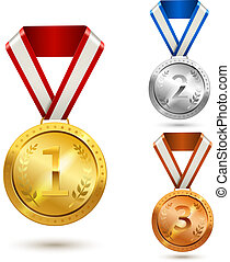 Award medals set - Gold silver and bronze medal awards...