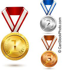 Award medals set - Gold silver and bronze medal awards...