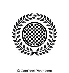 award monochrome dish striped with racing background design and olive crown