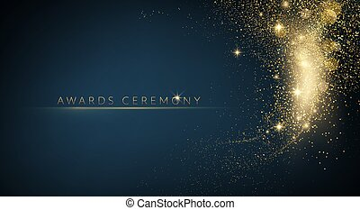 Awarding the nomination ceremony luxury background with golden glitter sparkles. Annual award Vector design