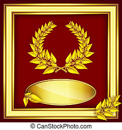 Award or jubilee certificate. Gold laurel wreath, label for text and frame on red velvet .Vector eps10 illustration