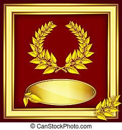 Award or jubilee certificate. Gold laurel wreath, label for ...