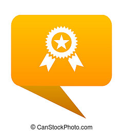 award orange bulb web icon isolated.