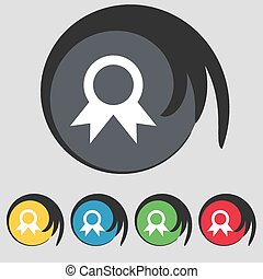 Award, Prize for winner  icon sign. Symbol on five colored buttons. Vector