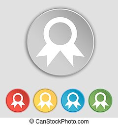 Award, Prize for winner icon sign. Symbol on five flat buttons. Vector