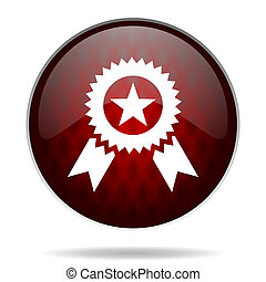 award red glossy web icon on white background