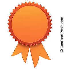 Award ribbon blank golden medal rosette winner badge