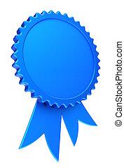 award ribbon blue reward medal rosette blank