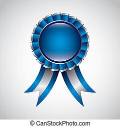 award ribbon - blue award ribbon over gray background....