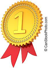 Award ribbon first place golden