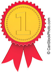 Award ribbon first place golden red
