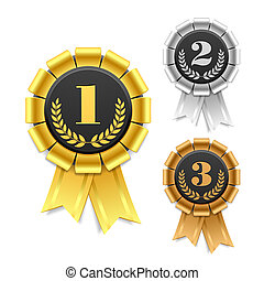 Gold, silver and bronze award ribbons vector illustration