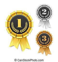 Award ribbon - Gold, silver and bronze award ribbons vector ...