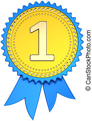 Award ribbon golden first place