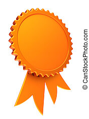 award ribbon golden reward medal rosette blank
