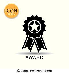 Award ribbon icon on white background.