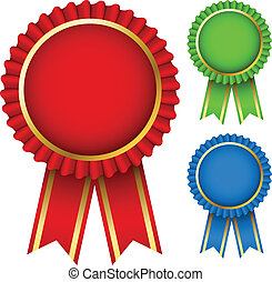 Award ribbon rosettes - Blank award ribbon rosettes in three...