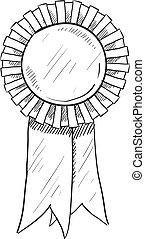 Award ribbon sketch - Doodle style award ribbon illustration...