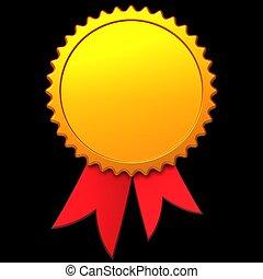 Award ribbon template (Hi-Res) - Gold award ribbon with copy...