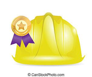 award ribbon under construction sign